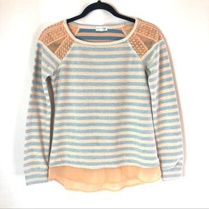 Maison Jules peach & blue crochet detail sweater